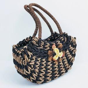Vintage Wicker Handbag - Shoulder Bag